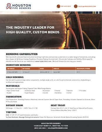 Houston Pipe Benders Capabilities Guide